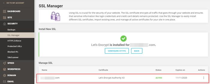 SiteGround Free SSL Certificate via